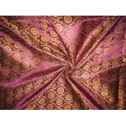 Pure Silk Brocade fabric Purple,Red & Metallic Gold 44""