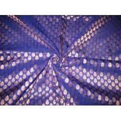Pure SILK BROCADE FABRIC Blueish Purple & metallics
