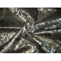 Pure SILK BROCADE FABRIC Dark teal & metallic colors