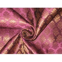 100% Pure Silk Brocade fabric Metallic Gold & Purple