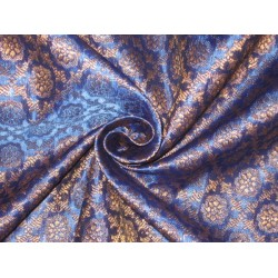 100% Pure Silk Brocade fabric Metallic Gold & Blue