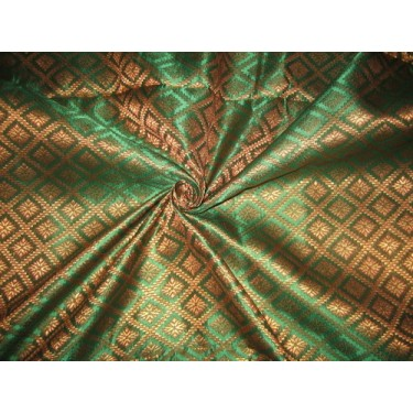 silk Brocade fabric ~Metallic Gold,Red & Green