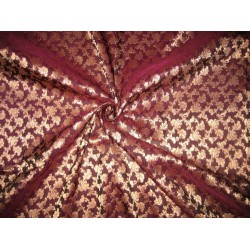 Pure Silk Brocade Fabric Aubergine & Gold Metallic