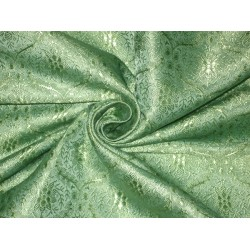 100% Pure SILK BROCADE FABRIC Pastel Sea Green 44""