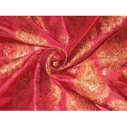 Pure Silk BROCADE FABRIC Hot Pink,Brown & Metallic Gold