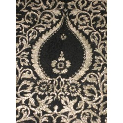 Heavy Pure Silk Brocade Fabric Metallic Gold & Black