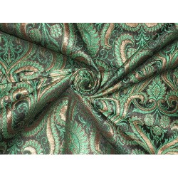 Heavy Pure Silk Brocade Fabric Green, Bronze & Black