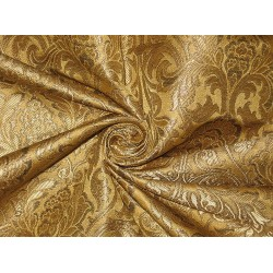 Heavy Pure Silk Brocade Fabric Metallic Bronze & Gold