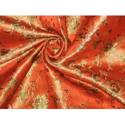 Silk Brocade fabric Orange,Gold & Green 44""