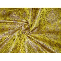 Pure SILK BROCADE FABRIC Gold,Lime Green & Lavender 44""