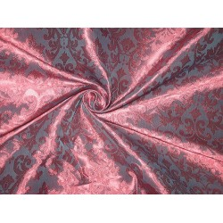 Brocade fabric Redish Pink & Blue Color