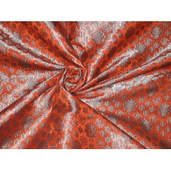 100% Pure Silk Brocade fabric Orange & Silvery Blue 44""