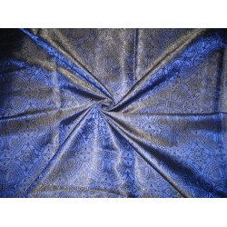 "Silk Brocade Vestment Fabric Blue & Black 44"" wide by the yard"