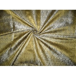 100% Pure Silk Brocade fabric Black,Cream & Gold 44""