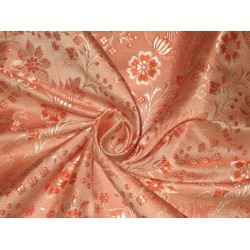 Silk Brocade fabric Orange & Gold 44""