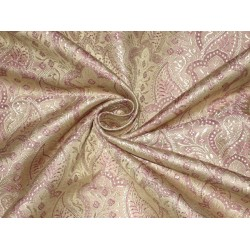 100% Pure Silk Brocade fabric Pink & Light Gold 44""