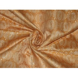 100% Pure Silk Brocade Fabric Light Mandarin Orange & Cream 44""