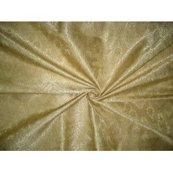 100% Pure Silk Brocade Fabric Light Gold & Cream 44""
