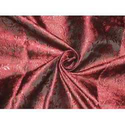 "Silk Brocade Fabric Wine & Black 44""BRO141[2]"