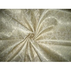 Spun Silk Brocade Fabric Gold,Metallic Gold & Cream 44""