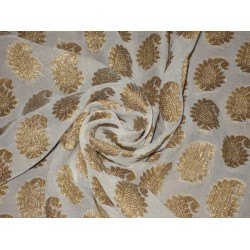 Pure Silk Brocade Semi Sheer Fabric Metallic Golden Bronze & Ivory 44""