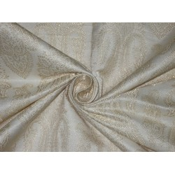 Pure Silk Brocade Fabric Metallic Gold & Ivory 44""