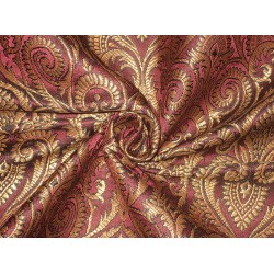 Pure Silk Brocade Fabric Metallic Gold,Wine & Jet Black 44""