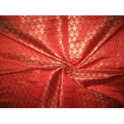 Pure Silk Brocade Fabric Metallic Gold,Bright Red & Black 44""