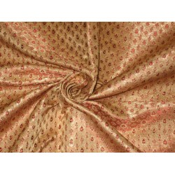 Silk Brocade Fabric Metallic Gold,Red & Metallic Gold 44""