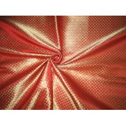 Pure Silk Brocade Fabric Metallic Gold,Red & Metallic Gold 44""