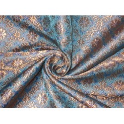 Pure Silk Brocade Fabric Metallic Gold,Lavender & Blue 44""