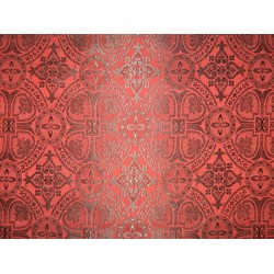 100%Pure Silk Brocade Vestment Fabric Red & Black