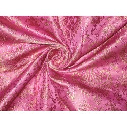 Silk Brocade Fabric Fuchsia Pink & Gold 44""