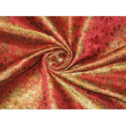Pure Silk Brocade Fabric Multi color & Metallic Gold