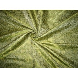 100% Pure Silk Brocade Fabric Green & Gold 44""