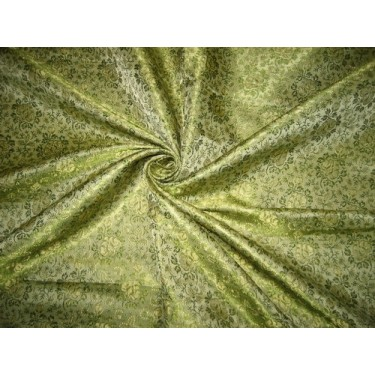Silk Brocade Fabric Green & Gold 44""