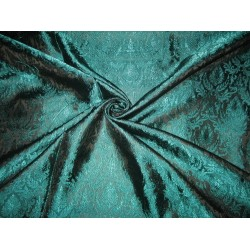 Silk Brocade fabric Black & Teal color 44""