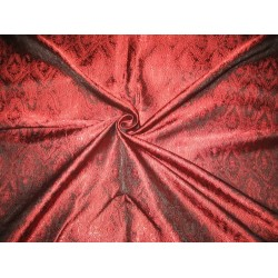 Silk Brocade Fabric WineRed & Black Victorian