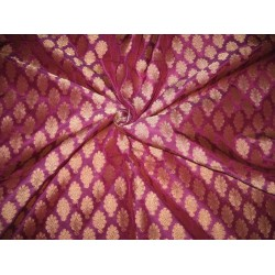 Pure Silk Brocade Fabric Purple & Dull Gold Metallic
