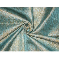100% Pure SILK BROCADE FABRIC Blue,Mustard & Cream 44""