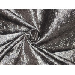 100% Pure Silk Brocade fabric Black,Cream & Bluey Grey