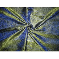 100% Pure Silk Brocade Vestment Fabric Blue & Green