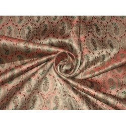 Silk Brocade Fabric Nude,Green & Red 44""
