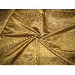 100% Pure Silk Brocade Fabric Gold & Black Victorian 44""