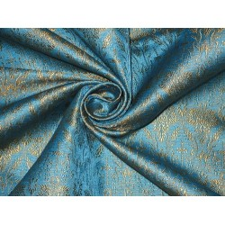 100% Pure Silk Brocade Vestment Fabric Blue & Gold