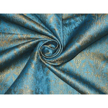Silk Brocade Vestment Fabric Blue & Gold