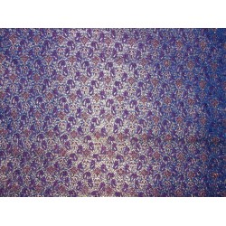 100% Pure Silk Brocade Fabric Blue,Red & metallic Gold 44""
