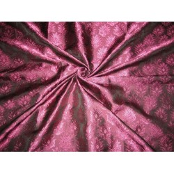 100% Pure Silk Brocade Fabric Pinkish Aubergine with Black Shot 44""