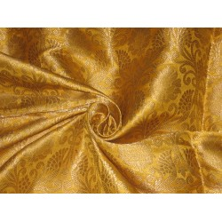 Pretty Silk Brocade Fabric Metallic Gold & Mustard color 44""