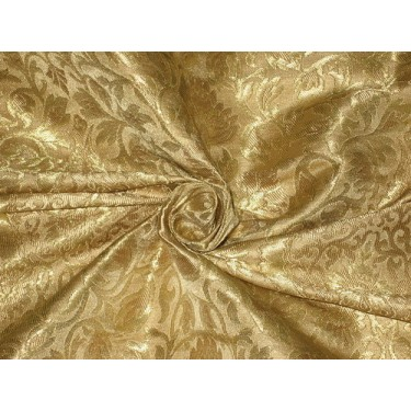 Pretty Silk Brocade Fabric Metallic Gold & Gold color 44""